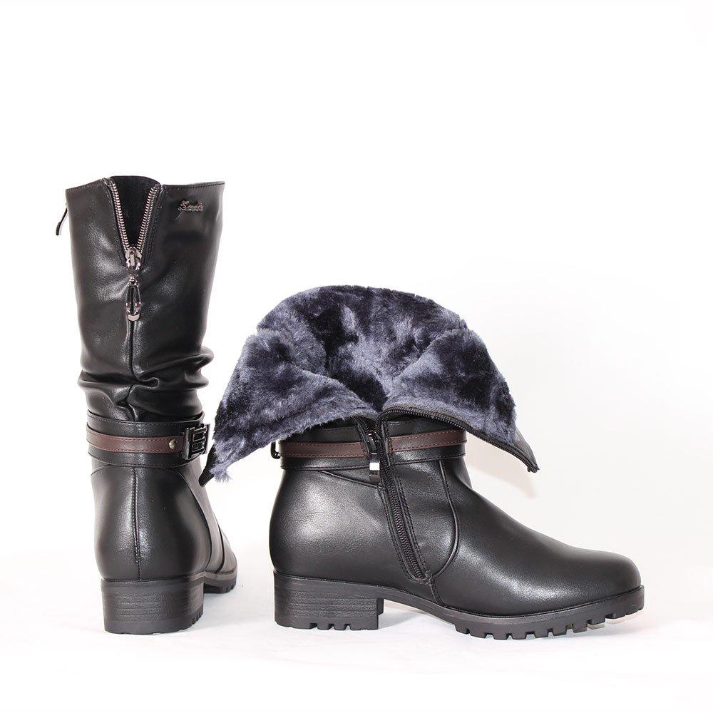 6906e0e45c2 Дамски зимни боти с грайфер с нисък ток - Vendemi Зимни обувки онлайн