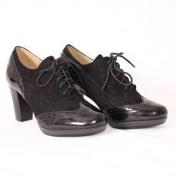 дамски обувки на висок ток с лак и велур