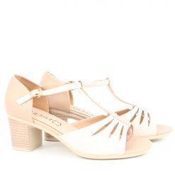 Дамски сандали на среден ток бежови