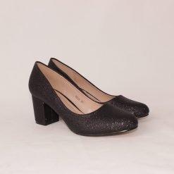 Дамски обувки на среден ток с черно ламе