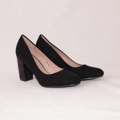 Дамски обувки на среден ток с ламе