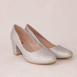 Дамски обувки на среден ток сребристи