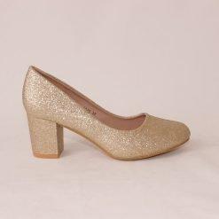 Дамски обувки на среден ток златисти