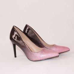 Розово черни дамски обувки на ток