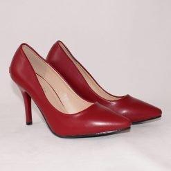 Дамски елегантни обувки в бордо