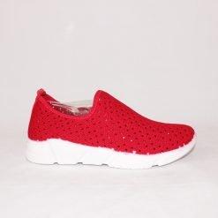 Дамски маратонки без връзки червени