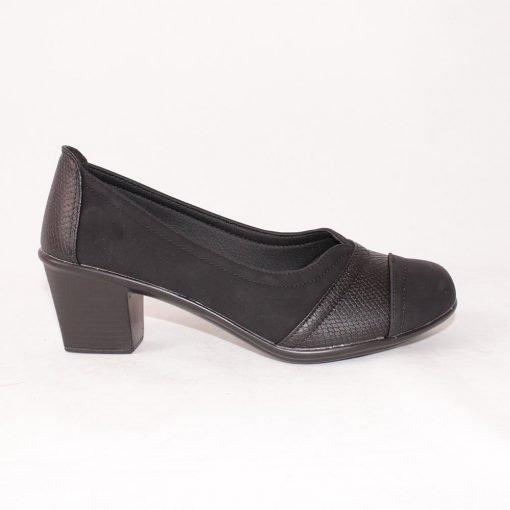 Дамски обувки на среден ток кожа и велур