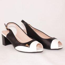 Дамски сандали на среден ток двуцветни