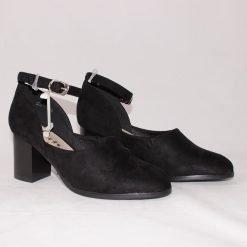 Дамски велурени обувки на среден ток
