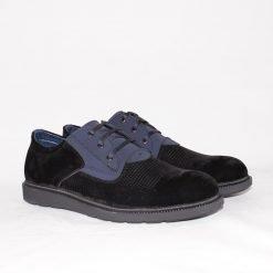 Мъжки обувки ежедневни от черен велур
