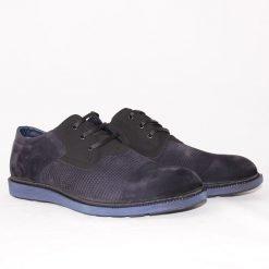 Мъжки обувки ежедневни от син велур