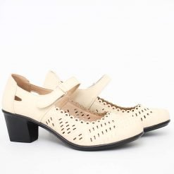 Дамски бежови обувки на среден ток