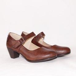 Кафяви дамски обувки с каишка