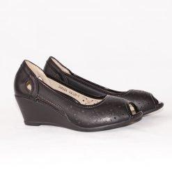 Летни дамски обувки на платформа черни