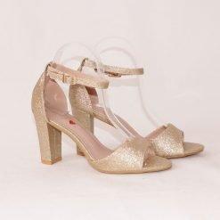 Златисти дамски сандали на висок ток