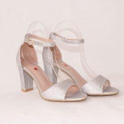 Сребристи дамски сандали на висок ток