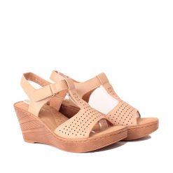 Дамски сандали висока платформа бежови