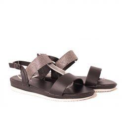 Дамски сандали с камъчета черни
