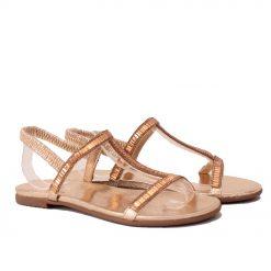 Дамски сандали с ластик златисти