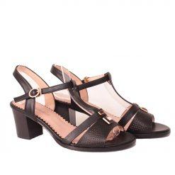 Дамски сандали черни на ток