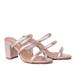 Дамски чехли на ток сребристи