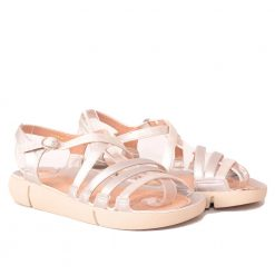 Равни дамски сандали сребристи