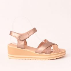Дамски сандали на платформа бронзови