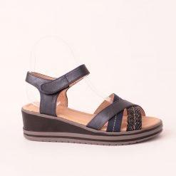 Дамски сандали на платформа тъмно сини