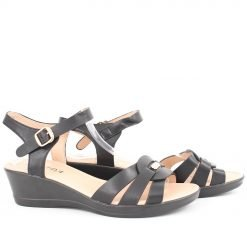 Дамски сандали ниска платформа черни