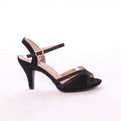 Дамски сандали от черен велур
