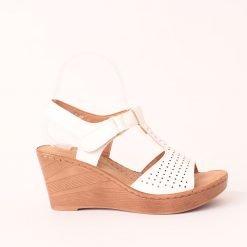 Дамски сандали висока платформа бели