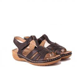 Черни дамски сандали с лепенка