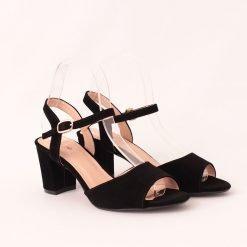 Дамски сандали на висок ток черни