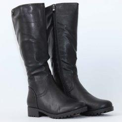 Дамски черни ботуши равни