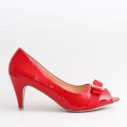 Червени дамски обувки среден ток