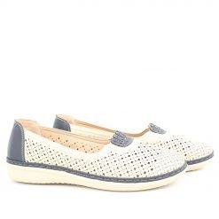 Дамски обувки с дупки бежово сини