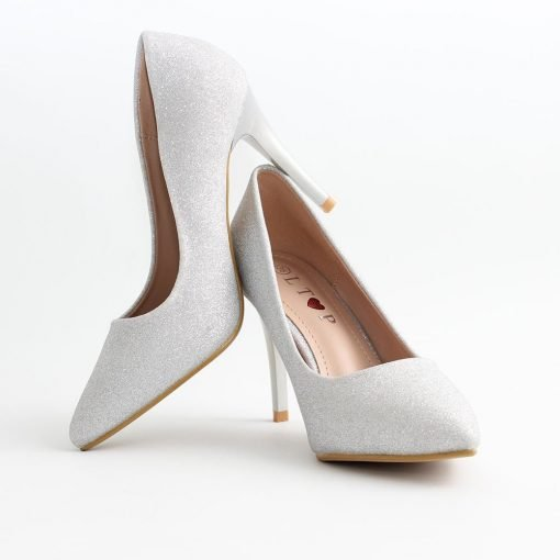 Дамски обувки сребристи висок ток