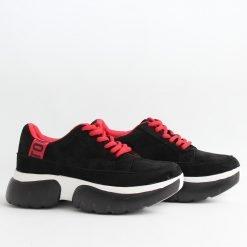 Велурени дамски обувки дебела платформа