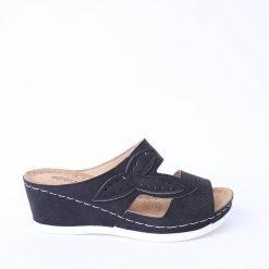Черни дамски чехли с платформа
