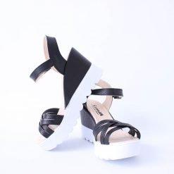 Дамски сандали платформа черни
