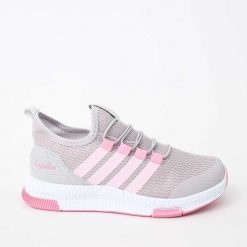 Детски маратонки в сиво и розово