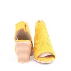 Дамски сандали жълти на ток