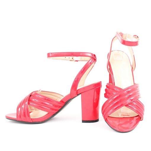 Червени дамски сандали висок ток