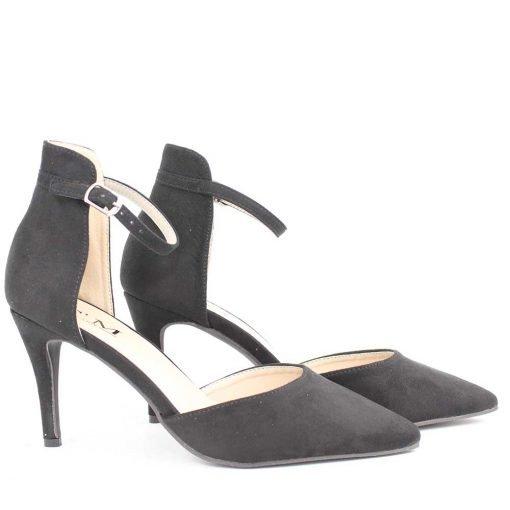 Черни дамски сандали на тънък ток