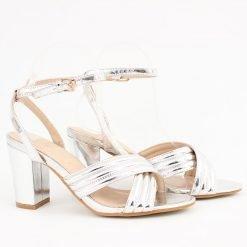 Сребристи дамски сандали висок ток